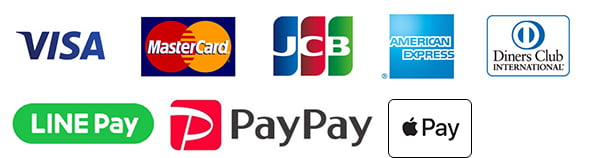 VISA,MasterCard,JCB,AMERICAN EXPRESS,Diners Club,LINE Pay,PayPay, Apple Pay