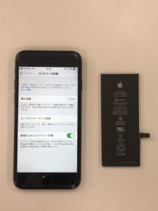 iPhone7 バッテリー交換 100% 宇都宮