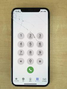 iPhone XS ガラス割れ状況1